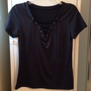 Black spandex lace-up tee